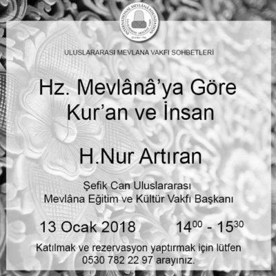 Uluslararası Mevlana Vakfı Sohbetleri Serisinde H.Nur Artıran