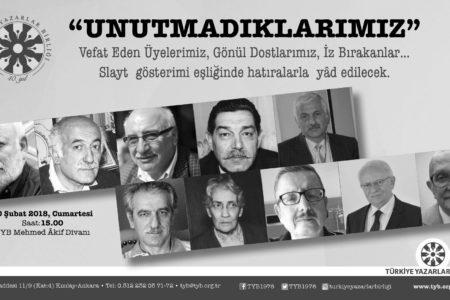 """Türkiye Yazarlar Birliğinden Anlamlı Bir Etkinlik; """"Unutmadıklarımız"""""""