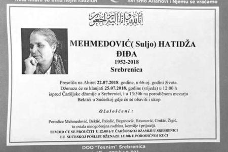 """Srebrenica Anneleri""nden Hatice Mehmedovic Vefat Etti"